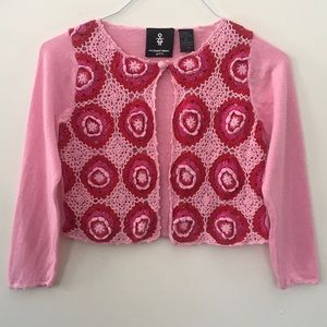 Michael Simon Girl Pink & Red Cardigan Sweater